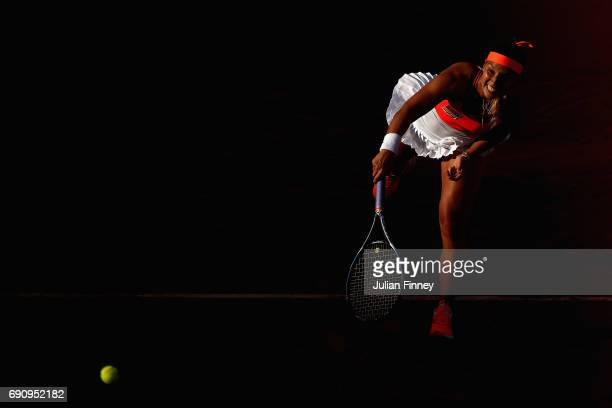 Dominika Cibulkoba of Slovakia serves during the ladies singles second round match against Ons Jabeur of Tunisia on day four of the 2017 French Open...