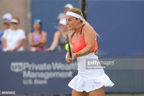 Dominika Cibulkova hits a backhand during the Western Southern Open at the Lindner Family Tennis Center in Mason Ohio on August 16 2017