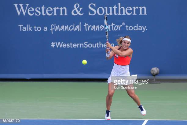 Dominika Cibulkova hits a backhand during the Western Southern Open at the Lindner Family Tennis Center in Mason Ohio on August 15 2017