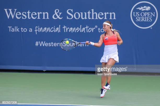 Dominika Cibulkova hits a forehand during the Western Southern Open at the Lindner Family Tennis Center in Mason Ohio on August 15 2017