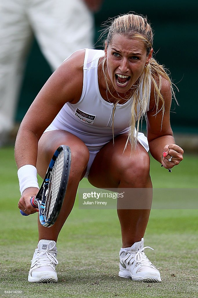 Dominika Cibulkova of Slovakia celebrates victory during the Ladies Singles first round match against Mirjana Lucic-Baroni of Croatia on day two of the Wimbledon Lawn Tennis Championships at the All England Lawn Tennis and Croquet Club on June 28, 2016 in London, England.