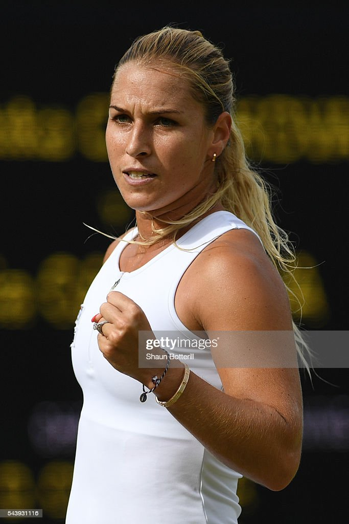 <a gi-track='captionPersonalityLinkClicked' href=/galleries/search?phrase=Dominika+Cibulkova&family=editorial&specificpeople=4091238 ng-click='$event.stopPropagation()'>Dominika Cibulkova</a> of Slovakia celebrates victory during the Ladies Singles second round match against Daria Gavrilova of Australia on day four of the Wimbledon Lawn Tennis Championships at the All England Lawn Tennis and Croquet Club on June 30, 2016 in London, England.