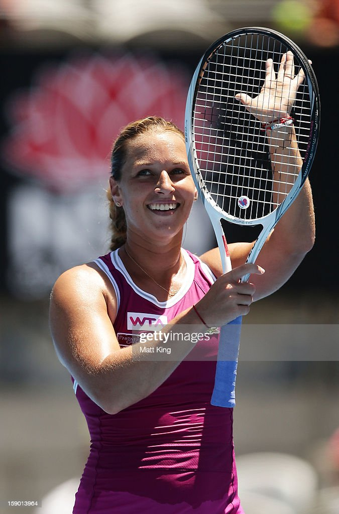 <a gi-track='captionPersonalityLinkClicked' href=/galleries/search?phrase=Dominika+Cibulkova&family=editorial&specificpeople=4091238 ng-click='$event.stopPropagation()'>Dominika Cibulkova</a> of Slovakia celebrates winning her first round match against Petra Kvitova of Czech Republic during day one of the Sydney International at Sydney Olympic Park Tennis Centre on January 6, 2013 in Sydney, Australia.