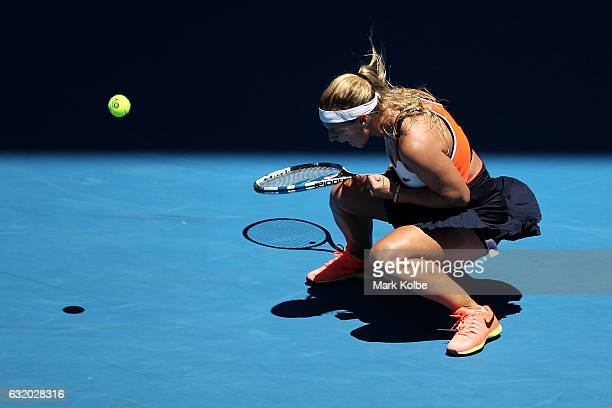 Dominika Cibulkova of Slovakia celebrates winning her second round match against SuWei Hsieh of Chinese Taipei on day four of the 2017 Australian...