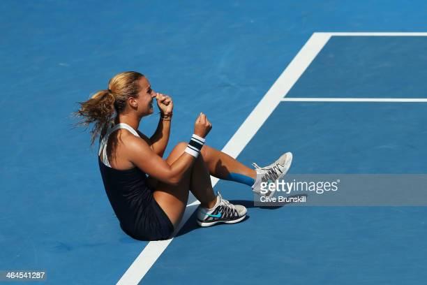Dominika Cibulkova of Slovakia celebrates winning her semifinal match against Agnieszka Radwanska of Poland during day 11 of the 2014 Australian Open...