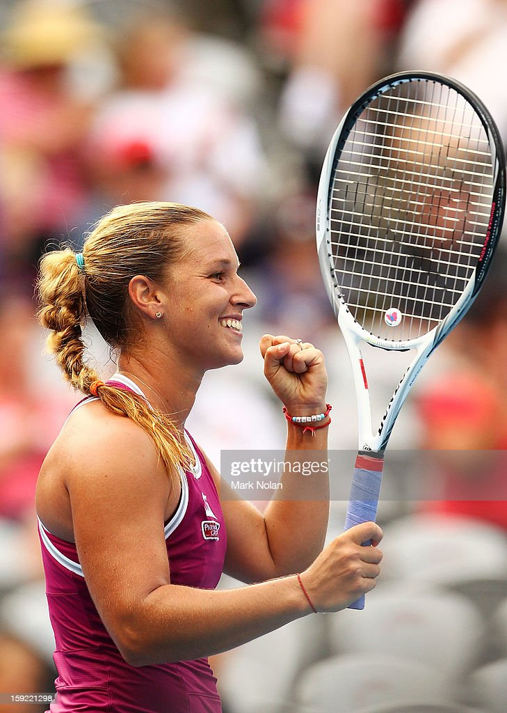 Dominika Cibulkova of Slovakia celebrates winning her semifinal against Angelique Kerber of Germany during day five of the Sydney International at...