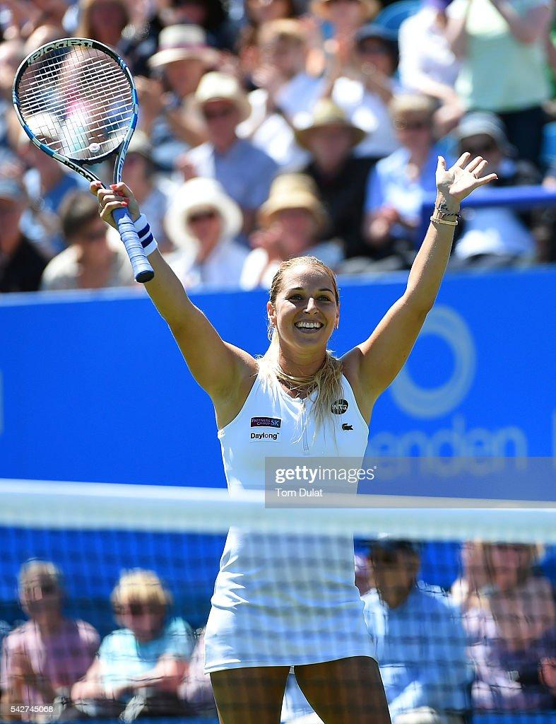 Dominika Cibulkova of Slovakia celebrates winning her women's quarter final singles match against Agnieszka Radwanska of Poland on day six of the WTA...