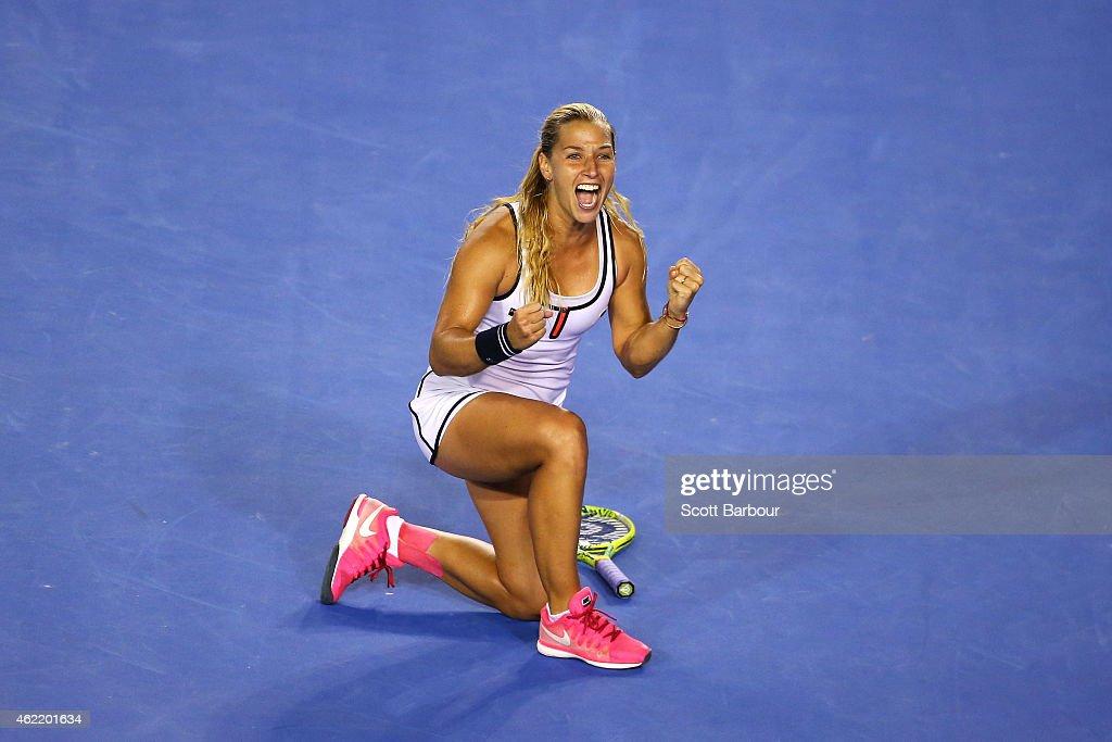 Dominika Cibulkova of Slovakia celebrates winning in her fourth round match against Victoria Azarenka of Belarus during day eight of the 2015...