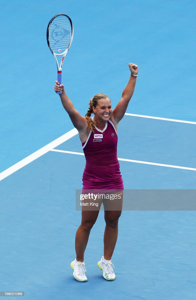 Dominika Cibulkova of Slovakia celebrates winning match point in her semi final match against Angelique Kerber of Germany during day five of the...