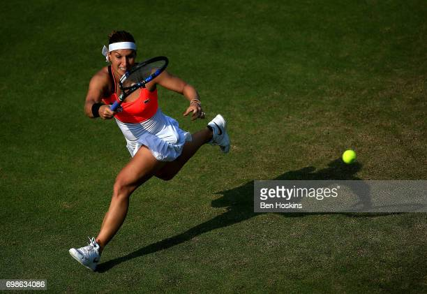 Dominika Cibulkova of Slovakia hits a forehand during her first round match against Lucia Safarova of The Czech Republic on day two of The Aegon...