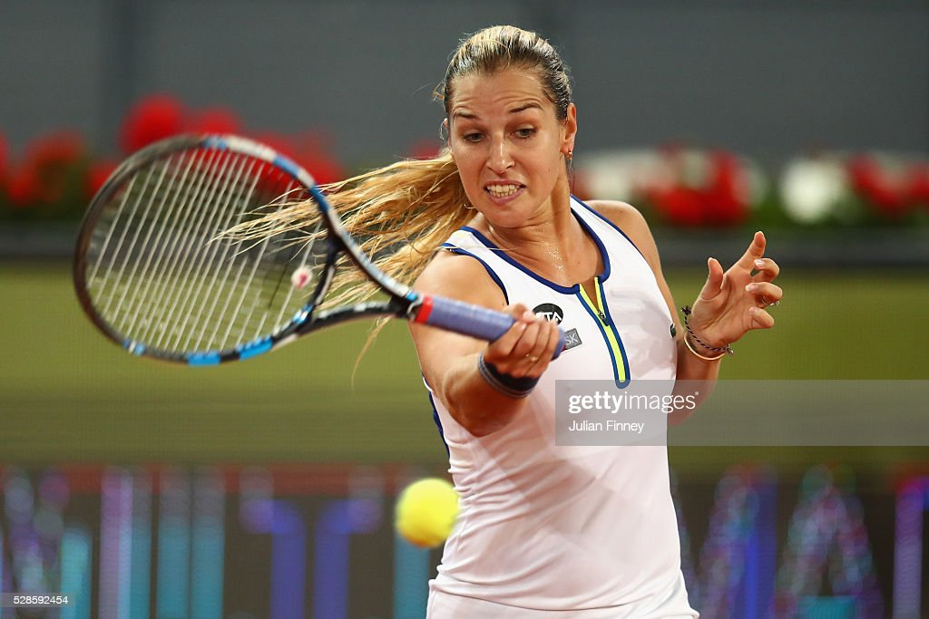 <a gi-track='captionPersonalityLinkClicked' href=/galleries/search?phrase=Dominika+Cibulkova&family=editorial&specificpeople=4091238 ng-click='$event.stopPropagation()'>Dominika Cibulkova</a> of Slovakia in action against Louisa Chirico of USA in the semi finals during day seven of the Mutua Madrid Open tennis tournament at the Caja Magica on May 06, 2016 in Madrid, Spain.