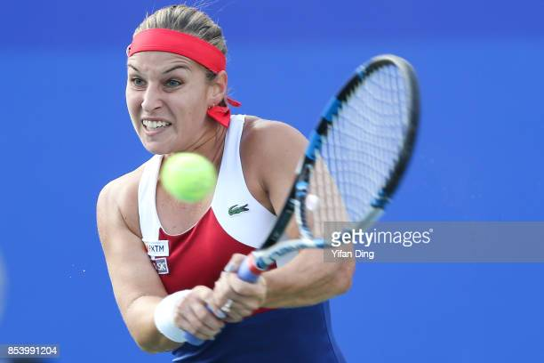 Dominika Cibulkova of Slovakia plays a backhand during the second round Ladies Singles match against Jil Teichmann of Switzerland on Day 3 of 2017...