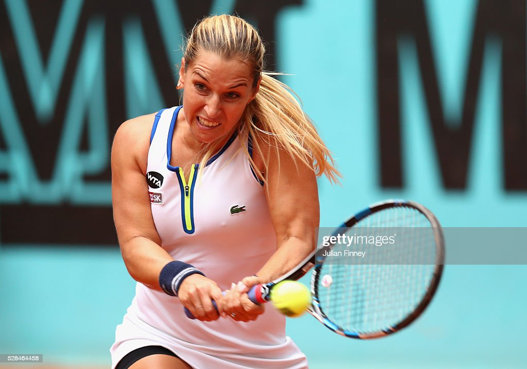 Dominika Cibulkova of Slovakia plays a backhand in her match against Sorana Cirstea of Romania during day six of the Mutua Madrid Open tennis tournament at the Caja Magica on May 05, 2016 in Madrid, Spain.