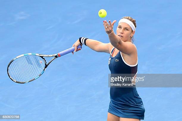 Dominika Cibulkova of Slovakia plays a forehand against Shuai Zhang of China on day four of the 2017 Brisbane International at Pat Rafter Arena on...