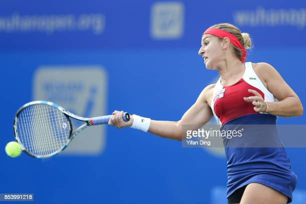 Dominika Cibulkova of Slovakia plays a forehand during the second round Ladies Singles match against Jil Teichmann of Switzerland on Day 3 of 2017...