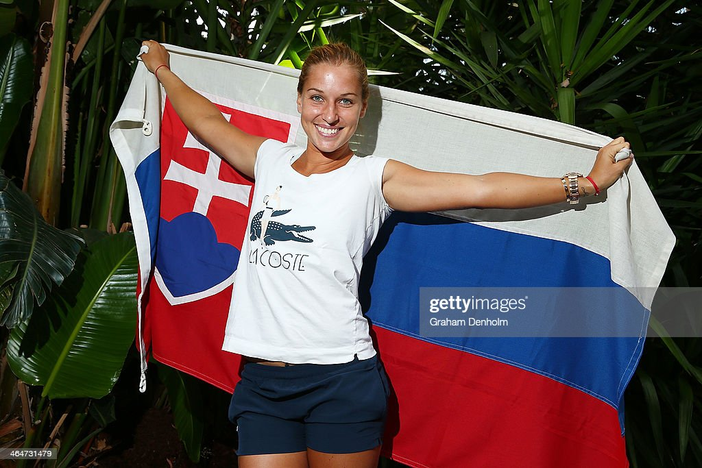 <a gi-track='captionPersonalityLinkClicked' href=/galleries/search?phrase=Dominika+Cibulkova&family=editorial&specificpeople=4091238 ng-click='$event.stopPropagation()'>Dominika Cibulkova</a> of Slovakia poses during day 12 of the 2014 Australian Open at Melbourne Park on January 24, 2014 in Melbourne, Australia.