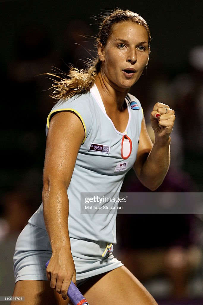 <a gi-track='captionPersonalityLinkClicked' href=/galleries/search?phrase=Dominika+Cibulkova&family=editorial&specificpeople=4091238 ng-click='$event.stopPropagation()'>Dominika Cibulkova</a> of Slovakia reacts against Victoria Azarenka of Russia during the Sony Ericsson Open at Crandon Park Tennis Center on March 27, 2011 in Key Biscayne, Florida.
