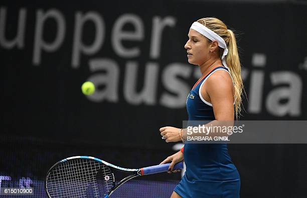 Dominika Cibulkova of Slovakia reacts during the final match against Viktorija Golubic of Switzerland at the WTA Ladies Tennis Tournament in Linz...
