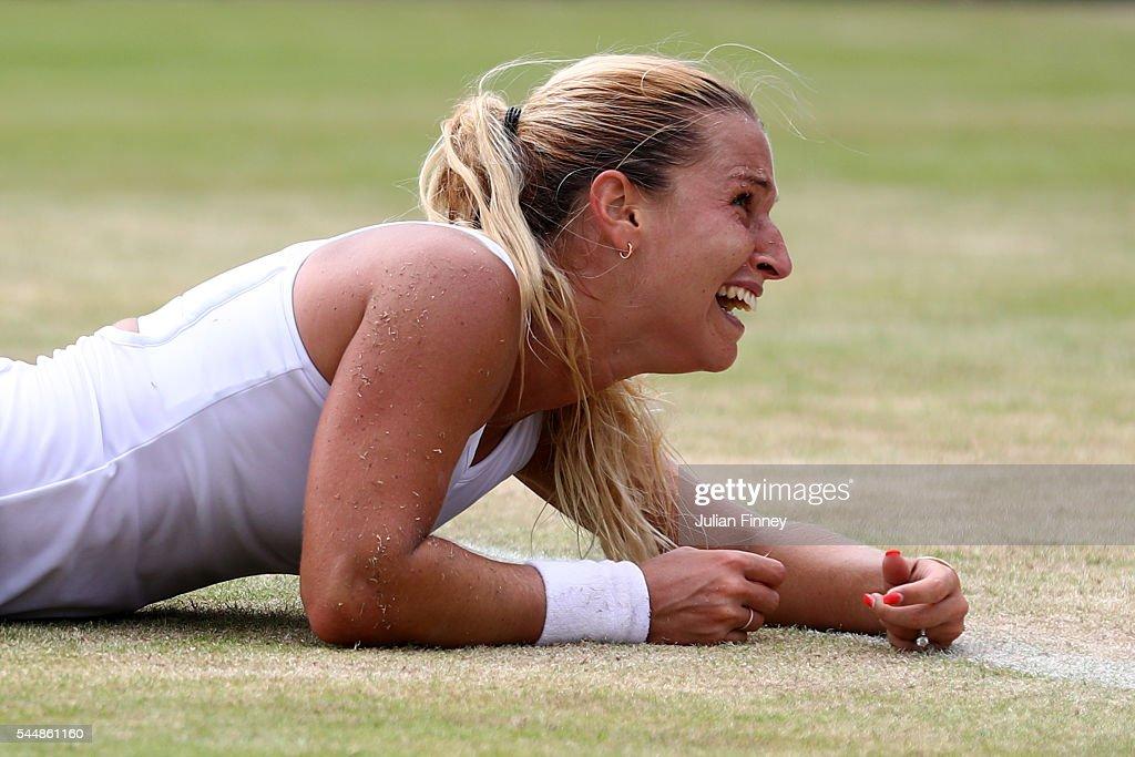 Dominika Cibulkova of Slovakia reacts on her way to victory during the Ladies Singles fourth round match against Agnieszka Radawanska of Poland on...