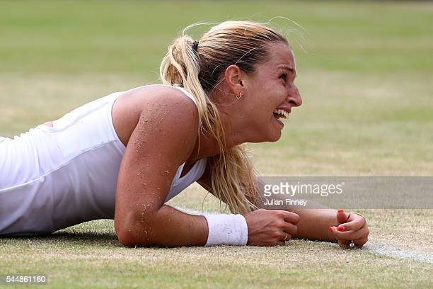 Dominika Cibulkova of Slovakia reacts on her way to victory during the Ladies Singles fourth round match against Agnieszka Radawanska of Poland on...