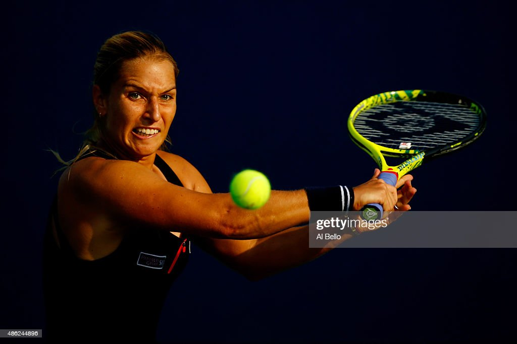 <a gi-track='captionPersonalityLinkClicked' href=/galleries/search?phrase=Dominika+Cibulkova&family=editorial&specificpeople=4091238 ng-click='$event.stopPropagation()'>Dominika Cibulkova</a> of Slovakia returns a shot to Jessica Pegula of the United States during their Women's Singles Second Round match on Day Three of the 2015 US Open at the USTA Billie Jean King National Tennis Center on September 2, 2015 in the Flushing neighborhood of the Queens borough of New York City.