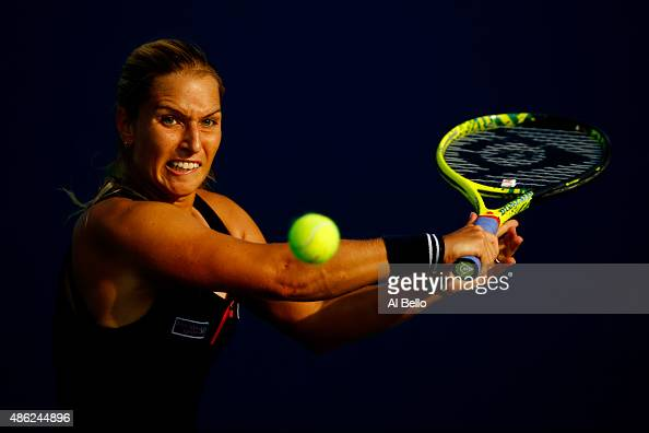 Dominika Cibulkova of Slovakia returns a shot to Jessica Pegula of the United States during their Women's Singles Second Round match on Day Three of...