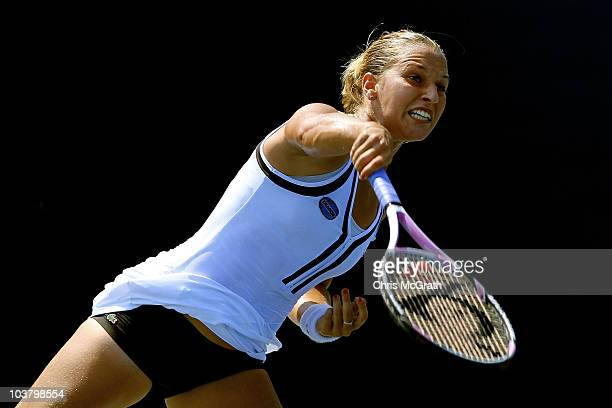 Dominika Cibulkova of Slovakia serves against Kateryna Bondarenko of the Ukraine during her women's singles match on day four of the 2010 US Open at...