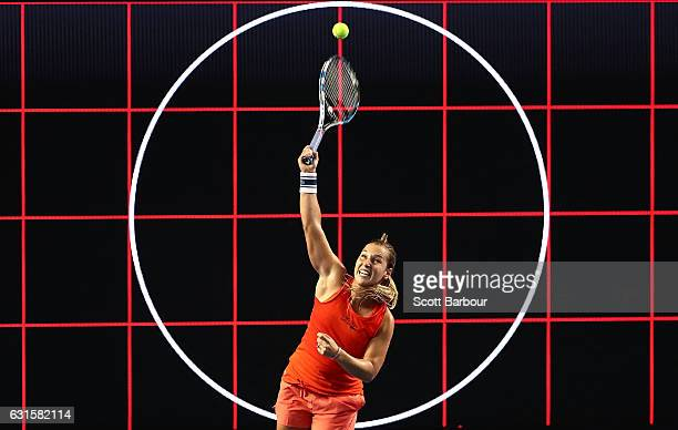 Dominika Cibulkova of Slovakia serves during a practice session ahead of the 2017 Australian Open at Melbourne Park on January 13 2017 in Melbourne...