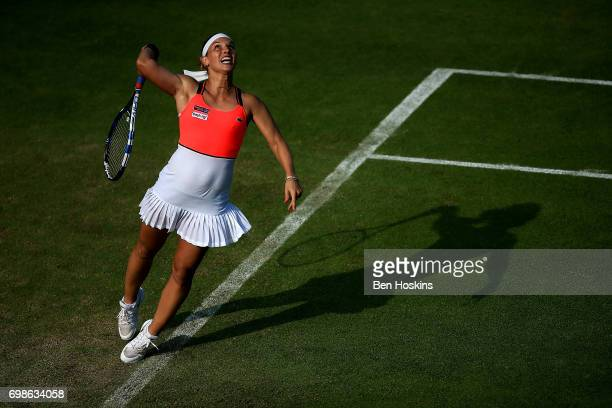Dominika Cibulkova of Slovakia serves during her first round match against Lucia Safarova of The Czech Republic on day two of The Aegon Classic...