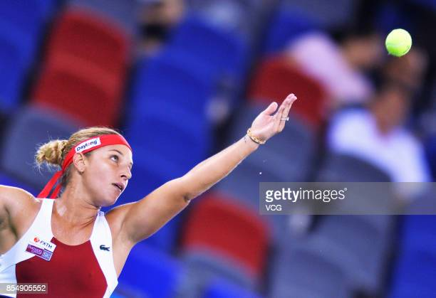 Dominika Cibulkova of Slovakia serves during her third round match against Caroline Garcia of France in Women's Single on Day 4 of 2017 Wuhan Open on...