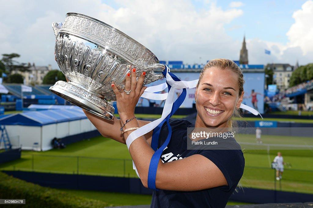 Dominika Cibulkova of Slovakia with trophy after victory in the final match against Karolina Pliskova of the Czech Republic on day 7 at Devonshire...