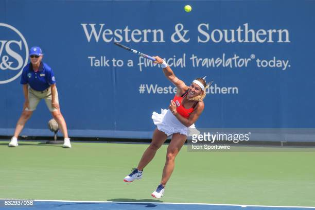 Dominika Cibulkova serves during the Western Southern Open at the Lindner Family Tennis Center in Mason Ohio on August 15 2017