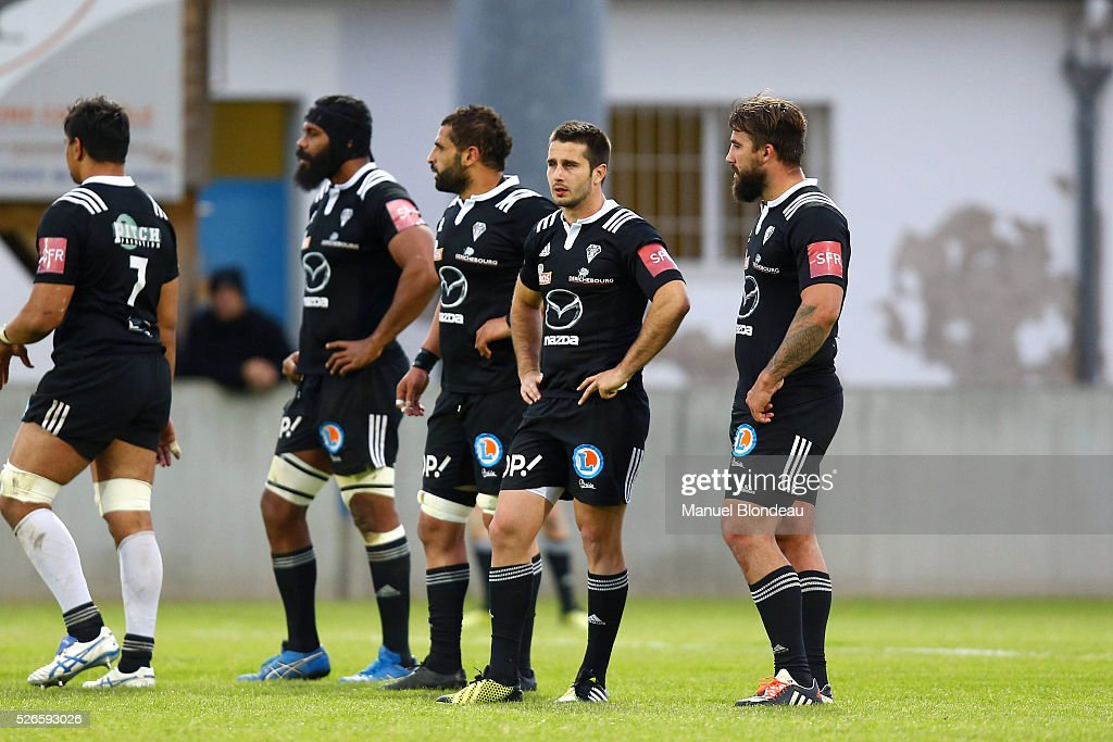 Dominiko Waqaniburotu, Said Hireche, Nicolas Bezy and Benjamin Petre of Brive look dejected during the French Top 14 rugby union match between SU Agen v CA Brive at Stade Armandie on April 30, 2016 in Agen, France.