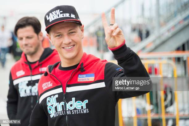 Dominique Aegerter of Switzerland and Kiefer Racing greets in paddock during previews ahead of the 2017 MotoGP of Australia at Phillip Island Grand...