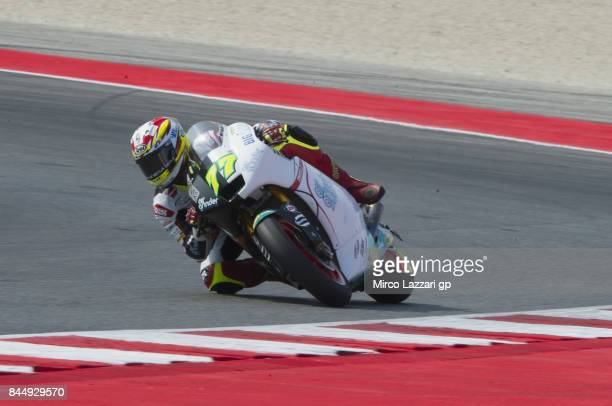 Dominique Aegerter of Switzerland and Kiefer Racing rounds the bend during the Moto2 qualifying during the MotoGP of San Marino Qualifying at Misano...