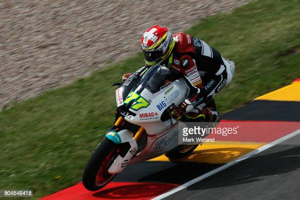 Dominique Aegerter of Switzerland and Kiefer Racing Team rides in free practice during the MotoGP of Germany at Sachsenring Circuit on June 30 2017...
