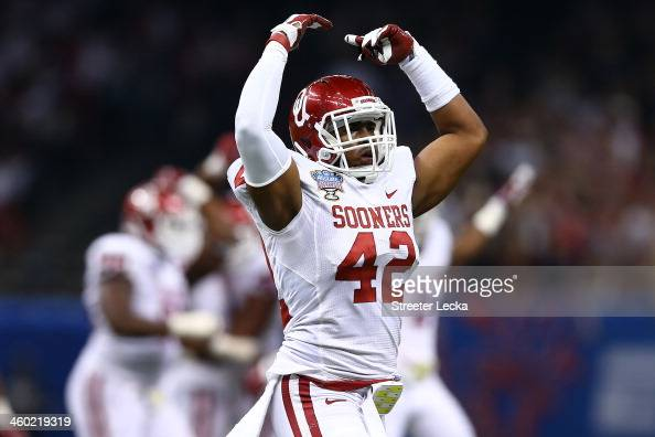 Dominique Alexander of the Oklahoma Sooners reacts during the game against the Alabama Crimson Tide during the Allstate Sugar Bowl at the...