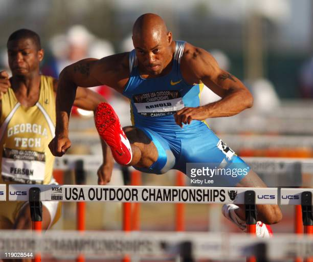 Dominique Arnold wins 110meter high hurdle heat in 1352 in the USA Track Field Championships at the Home Depot Center in Carson California on...