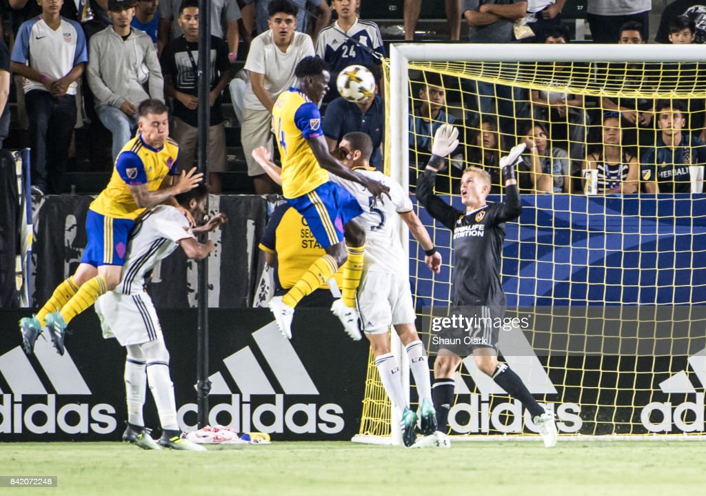 Dominique Badji #14 of Colorado Rapids heads the ball toward goal during the Los Angeles Galaxy's MLS match against Colorado Rapids at the StubHub Center on September 2, 2017 in Carson, California. Los Angeles Galaxy won the match