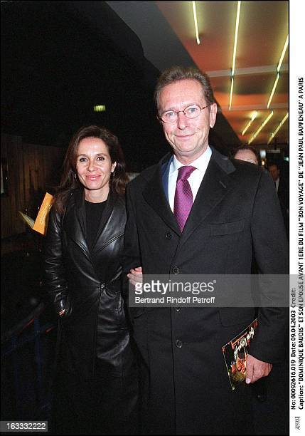 Dominique Baudis and his wife preview of the movie 'Bon Voyage' by 'Jean Paul Rappeneau' in Paris