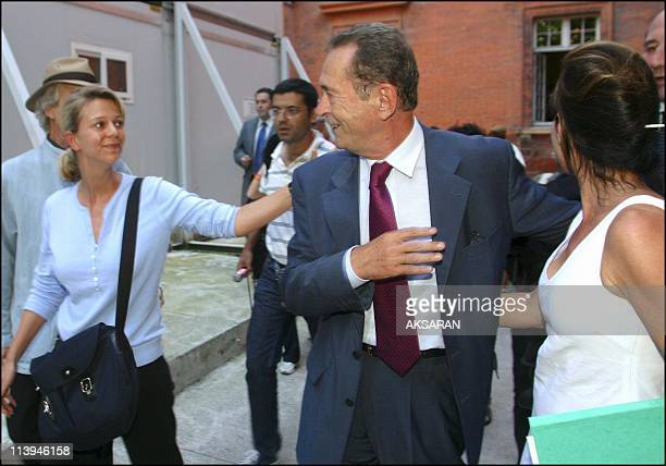 Dominique Baudis's exit of the Justice Palace of Toulouse after his confrontation with Patrice Alegre Patricia Lakhdar Messaoudene and the other...