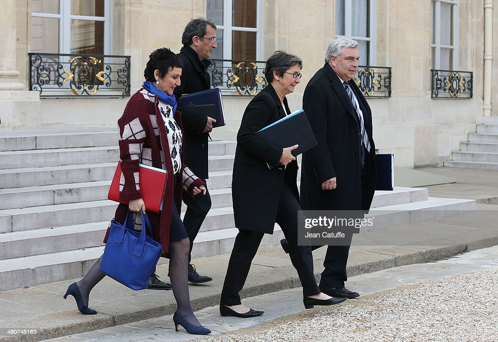 Dominique Bertinotti, french Deputy Minister for Family, Francois Lamy, french Minister for Cities, Valerie Fourneyron, french Minister for Sports and Youth Affairs and Frederic Cuvillier, french Deputy Minister for Transports and Maritime Economy attend the 'Conseil des Ministres', the weekly Cabinet meeting around the French President at Elysee Palace on March 26, 2014 in Paris, France.