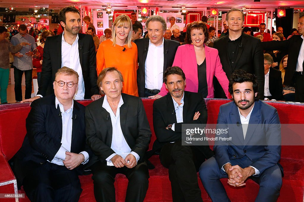 Dominique Besnehard, Alexandre Arcady, Pascal Elbe and Syrus Shahidi, (back L-R) Mathieu Madenian, Chantal Ladesou, Michel Drucker, Anne Roumanoff and Francis Huster attend the 'Vivement Dimanche' French TV show. Held at Pavillon Gabriel on April 23, 2014 in Paris, France.
