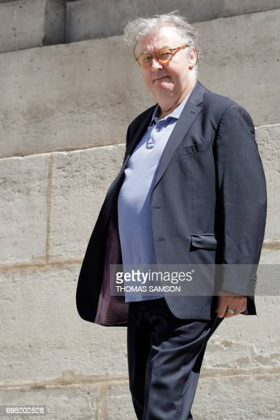 Dominique Besnehard leaves the SaintRoch Church in Paris after attending the funeral of French actor JeanMarc Thibault on June 12 2017 / AFP PHOTO /...