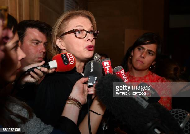 Dominique BohPetit lawyer of Chantal Beining the mother of victim Cyril Beining speaks to journalists on May 17 2017 at the Assize Court of Moselle...