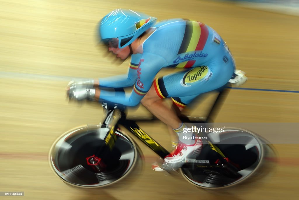 Dominique Cornu of Belgium rides in qualifying for the Men's Individual Pursuit during day two of the UCI Track World Championships at the Minsk Arena on February 21, 2013 in Minsk, Belarus.