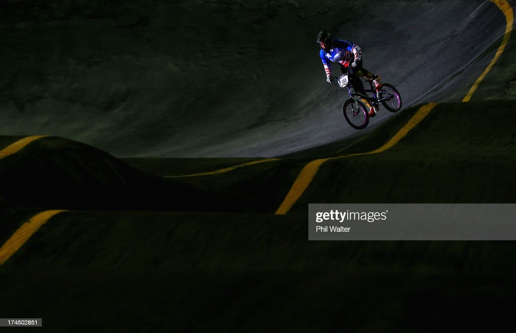 Dominique Daniels of Puerto Rico competes in the time trial during day four of the UCI BMX World Championships at Vector Arena on July 27, 2013 in Auckland, New Zealand.