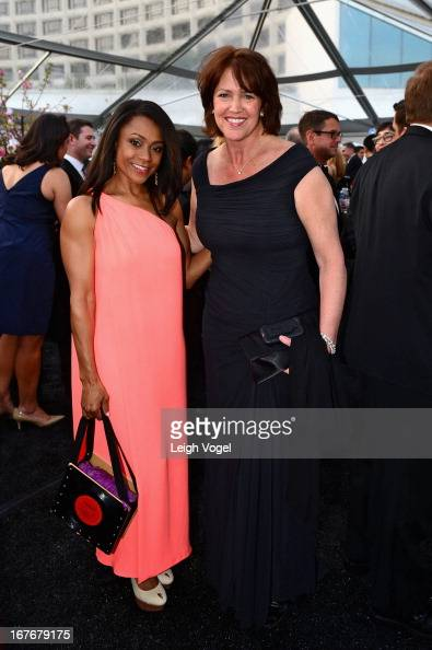 Dominique Dawes and Christine Brennan attend ABC News Yahoo News Univision PreWhite House Correspondents Dinner cocktail reception at Washington...