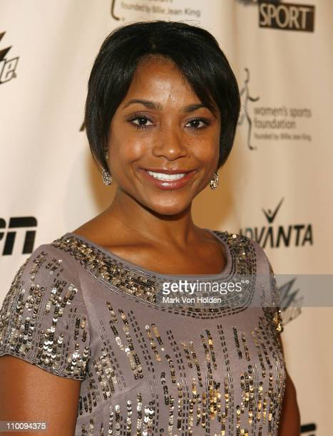 Dominique Dawes arrives on the Playtex Sport Pink Carpet at The 28th Annual Salute to Women in Sports Awards Dinner on October 15 2007 at New York's...