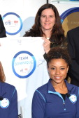Dominique Dawes of Team Citi and Lisa Baird United States Olympic Committee Chief Marketing Officer take a 'signature step' to kick off Citi's Every...